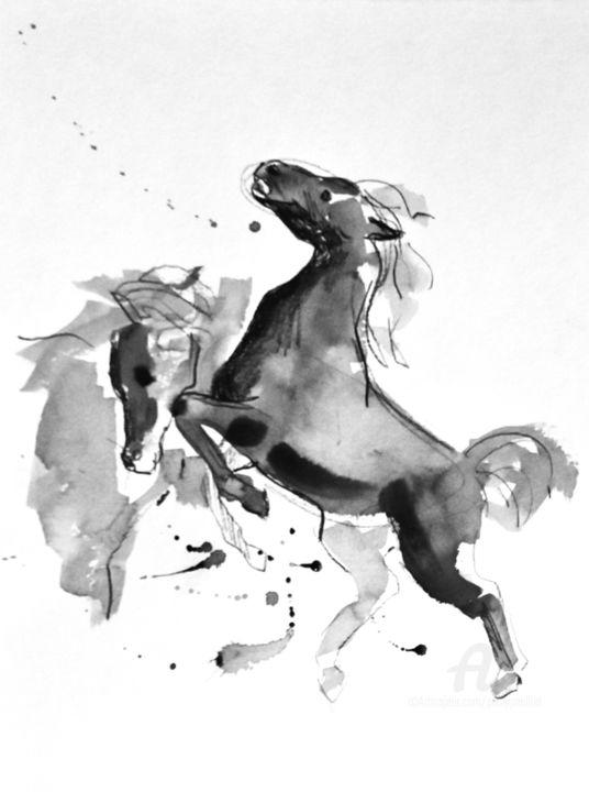 Chevaux se battant (d'après Delacroix)