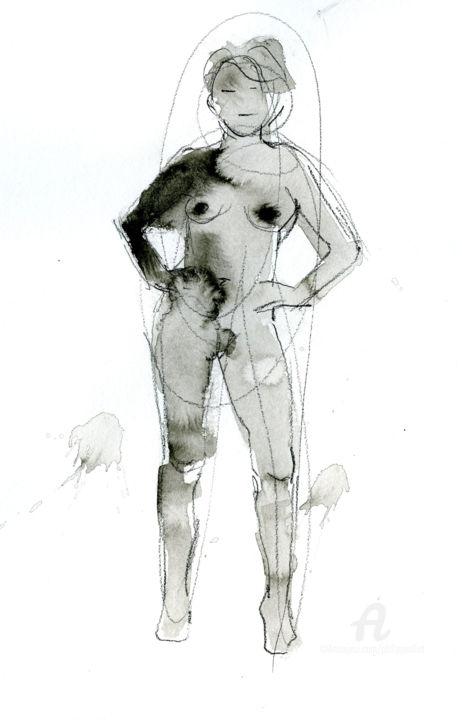 Nu mains sur les hanches